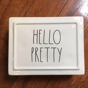 New Rae Dunn HELLO PRETTY Divided Jewelry Box
